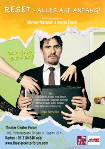 """Plakat von """"Reset –Alles auf Anfang"""" im Theater Center Forum"""