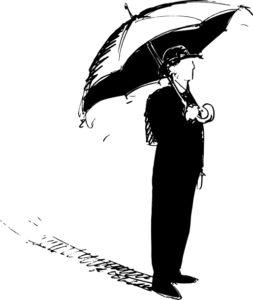 Herr Schultz mit offenem Schirm